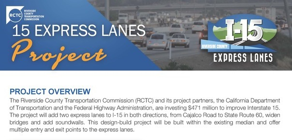 Riverside County I-15 Express Lanes Construction Project